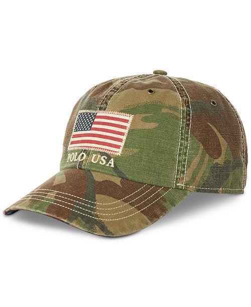 Polo Ralph Lauren Men's Cotton Camo American Flag Cap