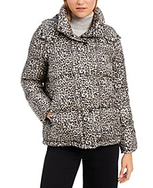 Leopard-Print Hooded Puffer Coat