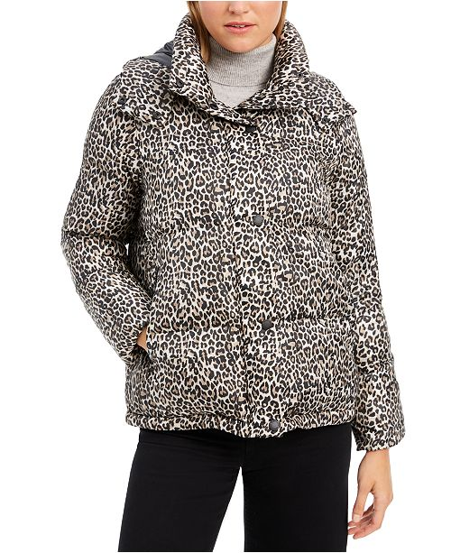BCBGeneration Leopard-Print Hooded Puffer Coat