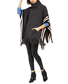 Fuzzy Striped Poncho With Pocket