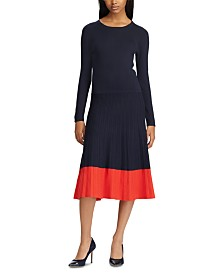 Lauren Ralph Lauren Colorblock Long-Sleeve Dress