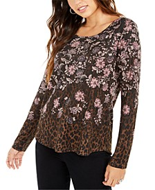 Mixed-Print Long-Sleeve Top, Created for Macy's