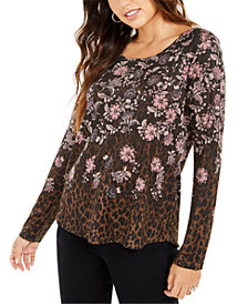 Style & Co Mixed-Print Long-Sleeve Top, Created for Macy's
