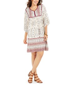Style & Co Petite Printed 3/4-Sleeve Peasant Dress, Created for Macy's