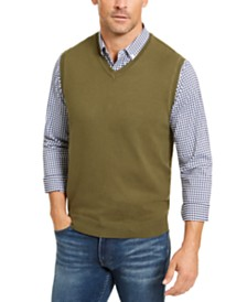 Club Room Men's Regular-Fit V-Neck Sweater Vest, Created for Macy's