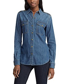 Cotton Denim Button-Down Shirt