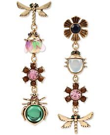 Betsey Johnson Gold-Tone Bug & Flower Stone & Crystal Mismatch Drop Earrings