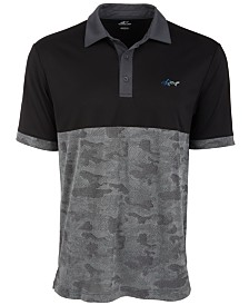 Attack Life by Greg Norman Men's Colorblocked Camo Jacquard Polo