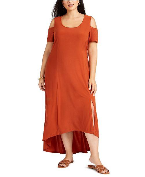 Plus Size Cold-Shoulder High-Low Maxi Dress
