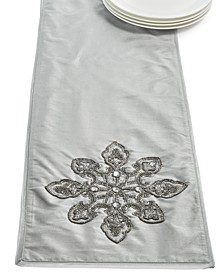 CLOSEOUT! Silver Dazzling Snowflake Embellished Runner