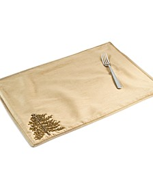 Gold-Tone Jeweled Pine Embellished Placemat