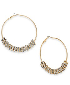 Gold-Tone Crystal Square Bead Hoop Earrings, Created For Macy's