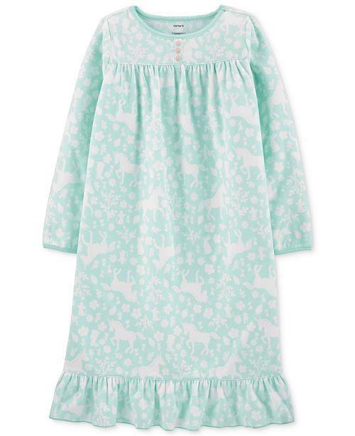 Carter's Little & Big Girls Unicorn-Print Fleece Nightgown