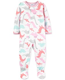 Toddler Girls 1-Pc. Dinosaur-Print Footed Pajamas