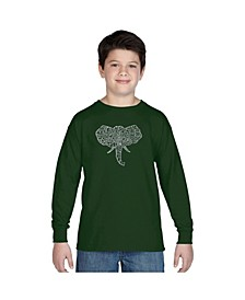 Boy's Word Art Long Sleeve T-Shirt - Tusks