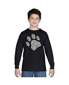 Boy's Word Art Long Sleeve T-Shirt - Dog Paw