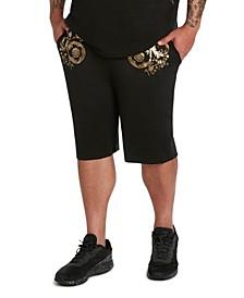 MVP Collections Men's Big & Tall Gold Floral Print Techno Knit Drawstring Shorts