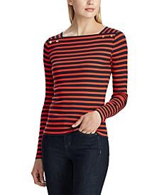 Petite Stripe-Print Long-Sleeve Stretch Top