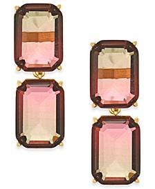 Gold-Tone Ombré Crystal Double Drop Earrings