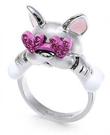 Pavé Heart-Glasses Bulldog Ring