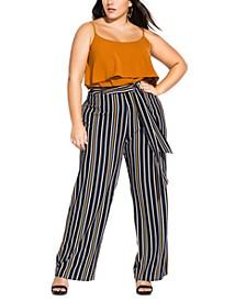 Trendy Plus Size Striped Tie-Waist Pants