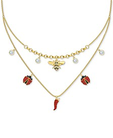 "Gold-Tone Multi-Crystal Nature-Charm Layered Necklace, 13-7/8"" + 1"" extender"