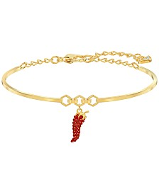 Swarovski Gold-Tone Pavé Pepper Bangle Bracelet