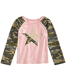 Toddler Girls Glitter Camo Star T-Shirt, Created for Macy's