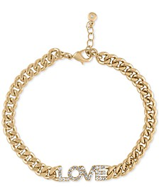 Gold-Tone Crystal Love Link Bracelet