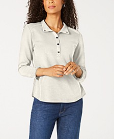 Petite Solid & Printed Collared Top, Created for Macy's
