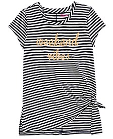 Big Girls Glitter Striped Side-Tie Shirt, Created For Macy's