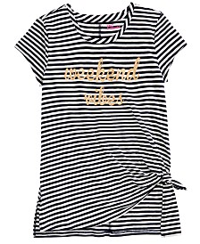 Epic Threads Big Girls Glitter Striped Side-Tie Shirt, Created For Macy's