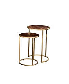 VILLA 2 Nesting Round Solid Wood Set of 2 Iron End Tables
