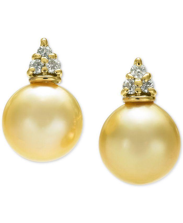 Macy's - Cultured Golden South Sea Pearl (9mm) & Diamond (1/8 ct. t.w.) Stud Earrings in 14k Gold