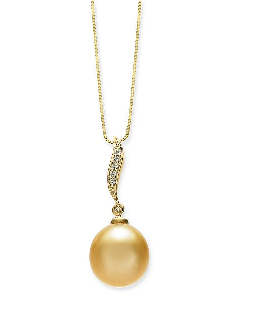 "Macy's Cultured Golden South Sea Pearl (10mm) & Diamond Accent 18"" Pendant Necklace in 14k Gold"