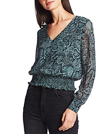 Smocked Snake-Print V-Neck Top