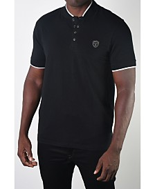 Members Only Men's Teddy Collar Metal Button Polo