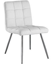 Chrome Metal Leather-Look 2 Piece Dining Chair Set