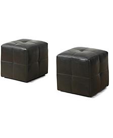 2 Piece Set Leather Look Ottoman