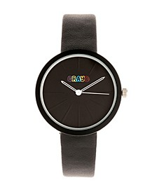 Unisex Blade Black Leatherette Strap Watch 37mm