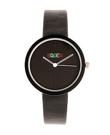 Crayo Unisex Blade Black Leatherette Strap Watch 37mm