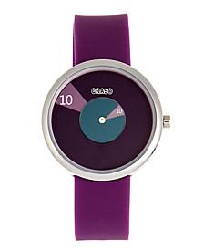 Unisex Pinwheel Purple Silicone Strap Watch 38mm