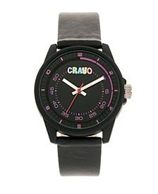 Unisex Jolt Black Leatherette Strap Watch 34mm