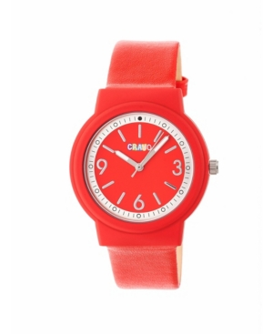 Unisex Vivid Red Leatherette Strap Watch 36mm