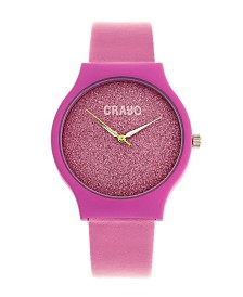 Crayo Unisex Glitter Hot Pink Leatherette Strap Watch 36mm