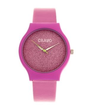 Unisex Glitter Hot Pink Leatherette Strap Watch 36mm