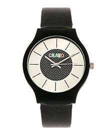 Unisex Trinity Black Leatherette Strap Watch 36mm