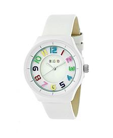 Unisex Atomic White Genuine Leather Strap Watch 36mm