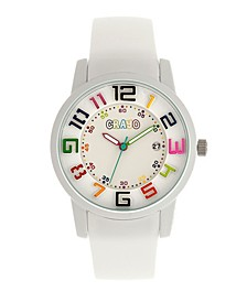 Unisex Festival White Silicone Strap Watch 41mm