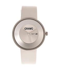Unisex Button White Genuine Leather Strap Watch 40mm